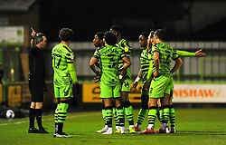 Referee Carl Brooker sends off Ebou Adams of Forest Green Rovers - Mandatory by-line: Nizaam Jones/JMP - 27/02/2021 - FOOTBALL - The innocent New Lawn Stadium - Nailsworth, England - Forest Green Rovers v Colchester United - Sky Bet League Two