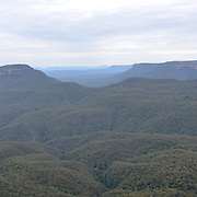 Blue Mountains valley as seen from Echo Point in Katoomba, New South Wales, Australia.