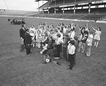 A tour group on the pitch during a visit to Croke park on the 4th of July 1974.
