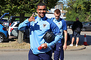 AFC Wimbledon striker Kweshi Appiah (9) giving thumbs up and arriving with AFC Wimbledon striker Joe Pigott (39) during the EFL Sky Bet League 1 match between AFC Wimbledon and Bristol Rovers at the Cherry Red Records Stadium, Kingston, England on 21 September 2019.