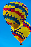 Hot air balloons in flight, Albuquerque International Balloon Fiesta, Albuquerque, New Mexico USA.