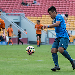 BRISBANE, AUSTRALIA - MARCH 25: Mustafa Jafari of SWQ Thunder in action during the round 5 NPL Queensland match between the Brisbane Roar and SWQ Thunder at Suncorp Stadium on March 25, 2017 in Brisbane, Australia. (Photo by Patrick Kearney/Brisbane Roar)