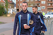 AFC Wimbledon midfielder Dylan Connolly (16) and AFC Wimbledon attacker Shane McLoughlin (38) arriving during the EFL Sky Bet League 1 match between AFC Wimbledon and Doncaster Rovers at the Cherry Red Records Stadium, Kingston, England on 9 March 2019.