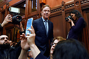 Connecticut Gov. Ned Lamont arrives to deliver the State of the State during opening session at the State Capitol, Wednesday, Feb. 5, 2020, in Hartford, Conn. (AP Photo/Jessica Hill)