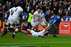 February 2, 2020, Saint Denis, Seine Saint Denis, France: The Wing of French Team VINCENT RATTEZ in action during the Guinness Six Nations Rugby tournament between France and  England at the Stade de France - St Denis - France.. France won 24-17 (Credit Image: © Pierre Stevenin/ZUMA Wire)