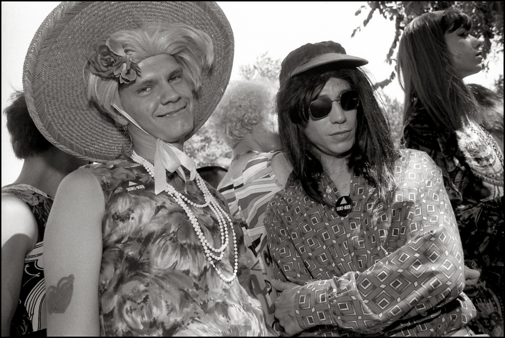 Rod Sorge, Scott Wald And Danny Hunter at Wigstock, an annual outdoor drag festival that began in the 1980s in Tompkins Square Park in the East Village of New York City that took place on Labor Day. 1989
