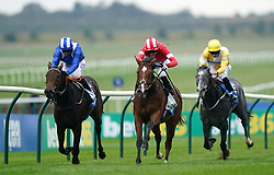 Fast Attack and James Doyle (red) coming home to win the Godolphin Lifetime Care Oh So Sharp Stakes at Newmarket Racecourse. Picture date: Friday October 8, 2021.