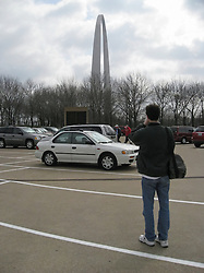 The Parking Lot of the Gateway Arch and Park Saint Louis MO. Peter Greeley shooting the Arch from the Lot.