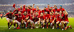 Wales celebrate the Grand Slam and Triple Crown<br /> <br /> Photographer Simon King/Replay Images<br /> <br /> Six Nations Round 5 - Wales v Ireland - Saturday 16th March 2019 - Principality Stadium - Cardiff<br /> <br /> World Copyright © Replay Images . All rights reserved. info@replayimages.co.uk - http://replayimages.co.uk