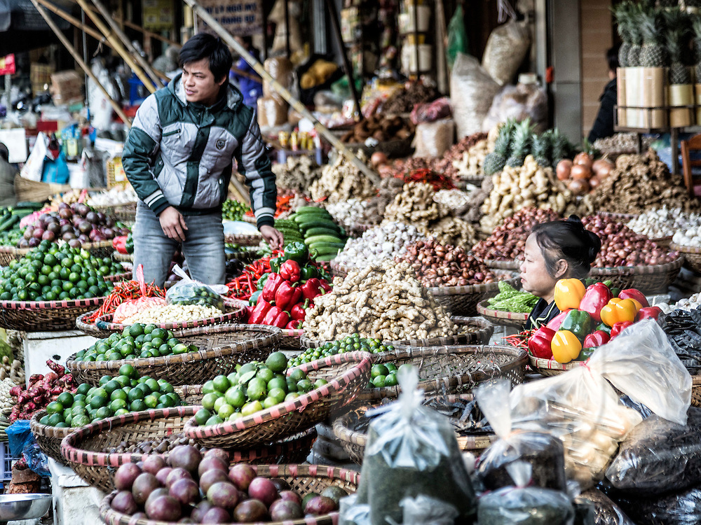 Fruits, vegetables and spices for sale along Cao Thang street in Hanoi's Old Quarter, Vietnam, Southeast Asia