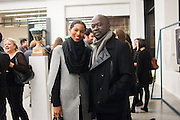 ASHLEY ADJAYE; DAVID ADJAYE, Editor of Wallpaper: Tony Chambers and architect Annabelle Selldorf host drinks to celebrate the collaboration between the architect and three of Savile Row's finest: Hardy Amies, Spencer hart and Richard James. Hauser and Wirth Gallery. ( Current show Isa Genzken. ) savile Row. London. 9 January 2012.