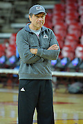 March 17, 2016: New Mexico State Aggies head coach Mark Trakh watches his team during the first practice day of the 2016 NCAA Division I Women's Basketball Championship first round in Tempe, Ariz.