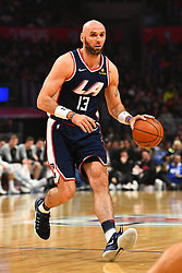 December 29, 2018 - Los Angeles, CA, U.S. - LOS ANGELES, CA - DECEMBER 29: Los Angeles Clippers Center Marcin Gortat (13) dribbles during a NBA game between the San Antonio Spurs and the Los Angeles Clippers on December 29, 2018 at STAPLES Center in Los Angeles, CA. (Photo by Brian Rothmuller/Icon Sportswire) (Credit Image: © Brian Rothmuller/Icon SMI via ZUMA Press)