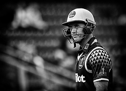 Glamorgan's Colin Ingram makes his way back to the dugout after being caught<br /> <br /> Photographer Simon King/Replay Images<br /> <br /> Vitality Blast T20 - Round 14 - Glamorgan v Surrey - Friday 17th August 2018 - Sophia Gardens - Cardiff<br /> <br /> World Copyright © Replay Images . All rights reserved. info@replayimages.co.uk - http://replayimages.co.uk