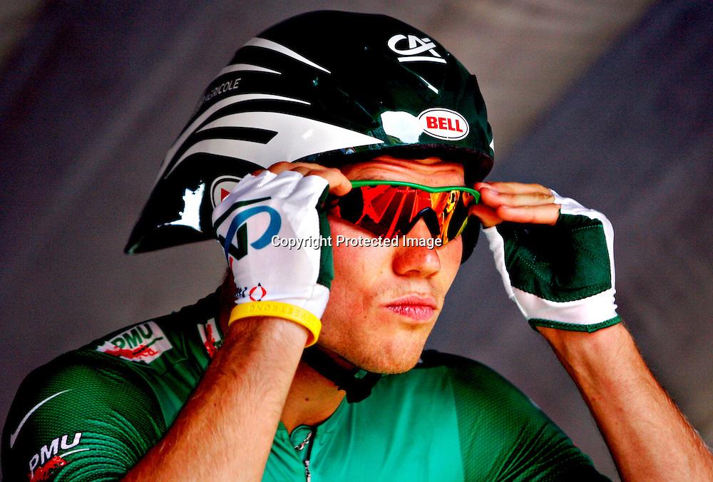 Saint-Etienne, 20050723. Tour de France 2005. Thor Hushovd på startrampa før den nest siste etappen..Foto: Daniel Sannum Lauten/ Dagbladet *** Local Caption *** Hushovd,Thor