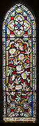 Stained glass window ornamental floral pattern passion flowers circa 1880 Ward and Hughes, Wilsford church, Wiltshire, England, UK