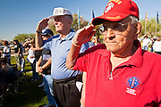 30 MAY 2011 - PHOENIX, AZ:  Veterans hold a salute at Memorial Day services in the National Memorial Cemetery in Phoenix, AZ, Monday. Memorial Day was celebrated with services across the United States Monday.    Photo by Jack Kurtz