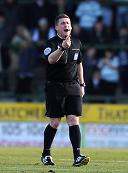Match Referee Lee Collins - Photo mandatory by-line: Harry Trump/JMP - Mobile: 07966 386802 - 07/03/15 - SPORT - Football - Sky Bet League One - Yeovil Town v Oldham Athletic - Huish Park, Yeovil, England.