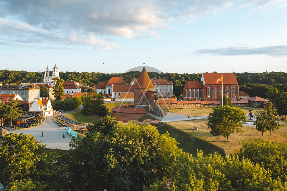 Kaunas, Lithuania - 21 July 2021: Aerial view of Kaunas castle in the city center on the sunny summer day evening.