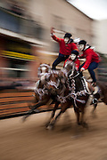 Riders participate in the Pariglie event at the Sa Sartiglia festival on Shrove Tuesday in Oristano, Sardinia, Italy