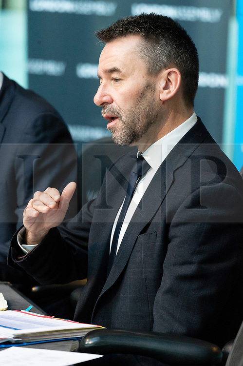 © Licensed to London News Pictures. 09/01/2019. London, UK. Mark Wild, Chief Executive of Crossrail attends London Assembly meeting on the delay of the Crossrail project. The Transport Committee try also try to get to the bottom of the disparity between the former Chair's account and that of the London Mayor Sadiq Khan's account of the delay. Photo credit: Ray Tang/LNP