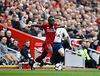 Football - 2018 / 2019 Premier League - Liverpool vs. Tottenham Hotspur<br /> <br /> Sadio Mane of Liverpool turns away from Kieran Trippier of Tottenham Hotspur, at Anfield.<br /> <br /> COLORSPORT/ALAN MARTIN
