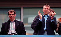 Photo: Daniel Hambury.<br />Chelsea v Liverpool. The Barclays Premiership. 05/02/2006.<br />Chelsea's owner Roman Abramovich with former player Gianfranco Zola.