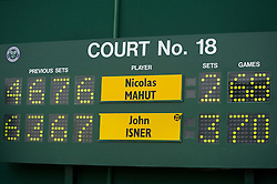 24.06.2010, Wimbledon, GBR, ATP World Tour, Grand Slam, Wimbledon, Men's singles, John Isner (USA) vs Nicolas Mahut (FRA), im Bild The Wimbledon scoreboard after the historic longert game ever that lasted 11 hours and five minutes over three days with the final score  6-4 3-6 6-7 (7-9) 7-6 (7-3) 70-68 on day four. EXPA Pictures © 2010, PhotoCredit: EXPA/ Propaganda/ D. Rawcliffe / SPORTIDA PHOTO AGENCY