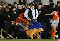 Blackpool fans spill onto the pitch as they celebration Kiernan Dewsbury-Hall's winning goal<br /> <br /> Photographer Kevin Barnes/CameraSport<br /> <br /> The EFL Sky Bet League One - Blackpool v Bolton Wanderers - Tuesday 25th February 2020 - Bloomfield Road - Blackpool<br /> <br /> World Copyright © 2020 CameraSport. All rights reserved. 43 Linden Ave. Countesthorpe. Leicester. England. LE8 5PG - Tel: +44 (0) 116 277 4147 - admin@camerasport.com - www.camerasport.com