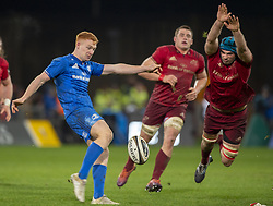 December 30, 2018 - Limerick, Ireland - Ciaran Frawley of Leinster kicks the ball during the Guinness PRO14 match between Munster Rugby and Leinster Rugby at Thomond Park in Limerick, Ireland on December 29, 2018  (Credit Image: © Andrew Surma/NurPhoto via ZUMA Press)