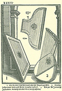 Early Italian stringed instruments.  1: A kind of Hackbret, 2: Lute-shaped instrument strung to be played like a harp, 3: Old Italian instrument played by plucking.   Woodcut from Michael Praetorius 'Syntagma Musicum', 1615-1620.