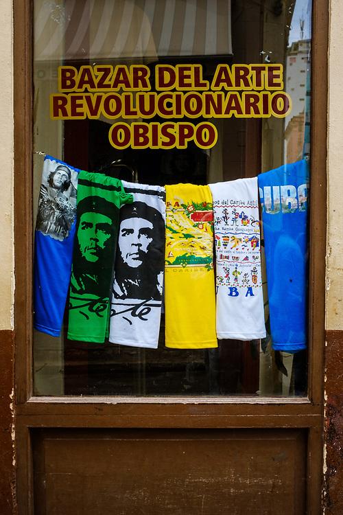 HAVANA, CUBA - CIRCA October 2017: Store front window of a gift shop in Havana