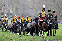 February 6, 2018 - London, UK - The King's Troop Royal Horse Artillery in full dress uniform ride out from Wellington Barracks into Green park to perform a 41-gun royal gun salute, to celebrate Queen Elizabeth II's accession to the throne. (Credit Image: © Tom Nicholson/London News Pictures via ZUMA Wire)