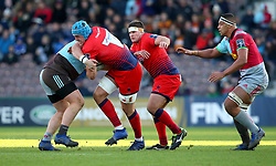 Pierce Phillips of Worcester Warriors is tackled - Mandatory by-line: Robbie Stephenson/JMP - 12/11/2017 - RUGBY - Twickenham Stoop - London, England - Harlequins v Worcester Warriors - Anglo-Welsh Cup