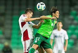 Lukas Skovajsa of AS Trencin vs Etien Velikonja of NK Olimpija during 1st Leg football match between NK Olimpija Ljubljana (SLO) and FK AS Trenčin (SVK) in Second Qualifying Round of UEFA Champions League 2016/17, on July 13, 2016 in SRC Stozice, Ljubljana, Slovenia. Photo by Vid Ponikvar / Sportida