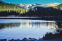 Reflections of Mount Evans in Echo Lake, Colorado.