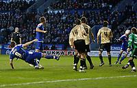 Photo: Steve Bond/Richard Lane Photography. Leicester City v Huddersfield Town. Coca Cola League One. 24/01/2009. Steve Howard (L) header is nodded home by Jack Hobbs (far R)