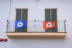 Catalonia, Spain Sep 2017. Torrelles de Foix. On 1 October Catalans will go to the polls to vote in a referendum on whether to secede from Spain and form an independent republic however Madrid says the referendum is unconstitutional. Catalonian flags & 'si' signs proliferate throughout the region.