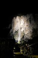 Lauterbrunnen Falls at night, Bernese Oberland, Switzerland