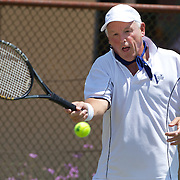 Peter Keller, Australia, in action in the 65 Mens Singles during the 2009 ITF Super-Seniors World Team and Individual Championships at Perth, Western Australia, between 2-15th November, 2009.