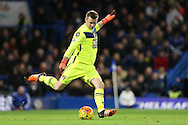 Goalkeeper Artur Boruc of Bournemouth taking a goal kick. Barclays Premier league match, Chelsea v AFC Bournemouth at Stamford Bridge in London on Saturday 5th December 2015.<br /> pic by John Patrick Fletcher, Andrew Orchard sports photography.