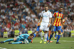 August 27, 2017 - Madrid, Spain - Valencia goalkeeper Neto controls the ball. LaLiga Santander matchday 2 between Real Madrid and Valencia. The final score was 2-2, Marco Asensio scored twice for Real Madrid. Carlos Soler and Kondogbia did it for Valencia. Santiago Bernabeu Stadium, august 27, 2017. Photo by  (Credit Image: © |Antonio Pozo |  Media Expre/VW Pics via ZUMA Wire)