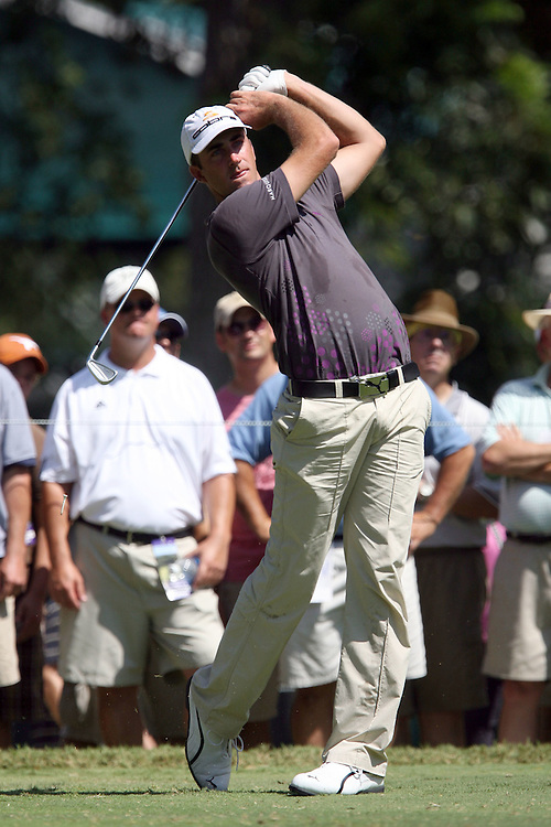 09 August 2007: Geoff Ogilvy tees off on the 4th hole during the first round of the 89th PGA Championship at Southern Hills Country Club in Tulsa, OK.
