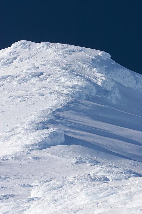 Icy ridge near the top of ski field Turoa. Turoa is located on active volcano Mount Ruapehu, New Zealand.