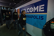 April 2, 2016; Indianapolis, Ind.; The Seawolf women's basketball team arrives for their practice session at Bankers Life Fieldhouse.