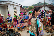 Activity during market day in Bac Ha, Vietnam, Southeast Asia