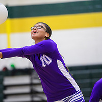 091614       Cable Hoover<br /> <br /> Miyamura Patriot Shelby Francisco (10) bumps back a serve from the Thoreau Hawks Tuesday at Thoreau High School.