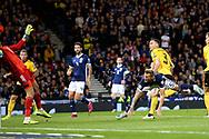 Belgium defender Thomas Vermaelen (3) (Vissel Kobe) scores a goal 0-2 during the UEFA European 2020 Qualifier match between Scotland and Belgium at Hampden Park, Glasgow, United Kingdom on 9 September 2019.