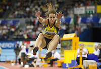 Photo: Richard Lane/Richard Lane Photography. <br />Norwich Union Grand Prix. 16/02/2008. Great Britain's Kelly Sotherton during the long jump in the women's three event challenge.