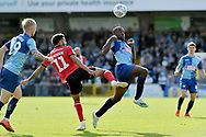 Wycombe Wanderers Nnamdi Ofoborh (28) and Lincoln City's Bruno Andrade (11)  during the EFL Sky Bet League 1 match between Wycombe Wanderers and Lincoln City at Adams Park, High Wycombe, England on 7 September 2019.